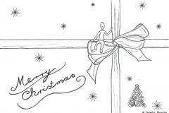 """Zeichnung von einem Weihnachtsgeschenk mit der Aufschrift """"Merry Christmas"""" - Copyright: Annika Baacke"""