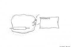 Zeichnung vom ausgerollten Teig für ein Keksrezept - Copyright: Annika Baacke