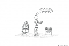 Comicfigur im Urlaub beim Kauf einer Mütze - Copyright: Annika Baacke