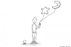 Comicfigur mit warmen Socken und einem Mond und Stern Luftballon in der Hand - Copyright: Annika Baacke