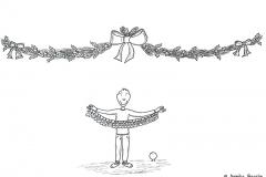 Comicfigur unter einer Weihnachtsgirlande mit Adventskalender in den Händen - Copyright: Annika Baacke