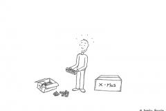Comicfigur, die Weihnachtsdeko auspackt - Copyright: Annika Baacke