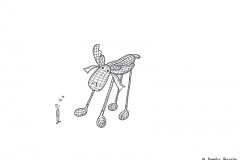 Zeichnung von einer kleinen Comicfigur, die verliebt vor einem Plüschtierelch steht - Copyright: Annika Baacke