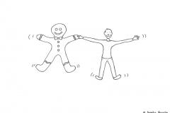 Comicfigur Hand in Hand mit einem Lebkuchenmann - Copyright: Annika Baacke
