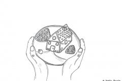Zeichnung von einem Lebkuchenhaus - Copyright: Annika Baacke
