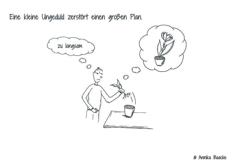 Comicfigur, die eine Pflanze aus der Erde eines Blumentopfes zieht - Copyright: Annika Baacke