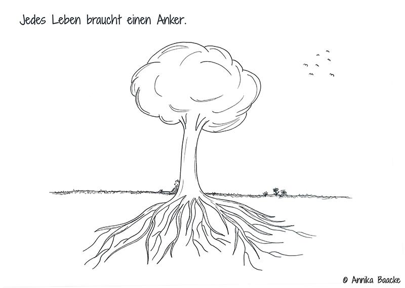 Kleine Comicfigur, die auf dem Boden sitzt und an einem Baum lehnt - Copyright: Annika Baacke