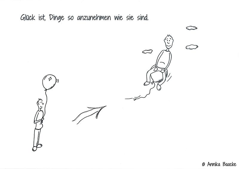 Comicfigur mit Luftballon in der Hand und Comicfigur, die auf einem Luftballon sitzt und fliegt - Copyright: Annika Baacke