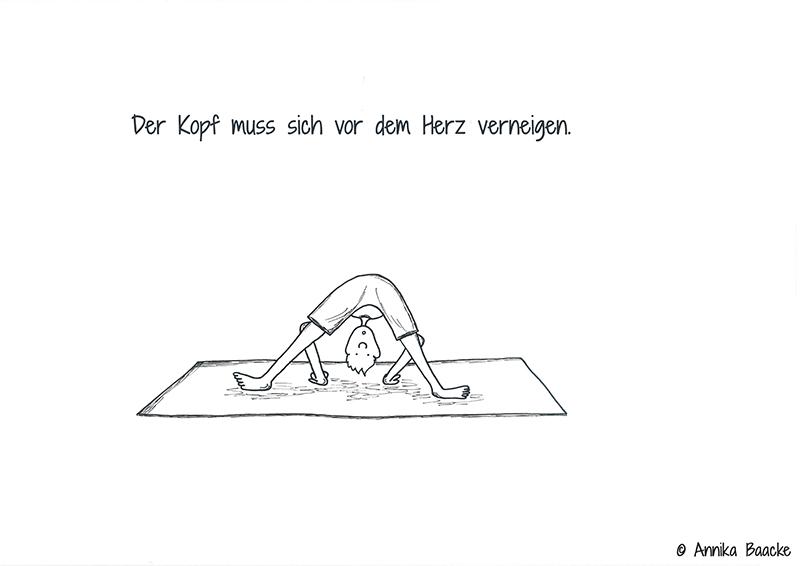 Comicfigur auf Yogamatte in der Vorbeuge - Copyright: Annika Baacke
