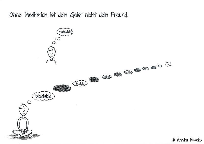 Comicfigur, die versucht zu meditieren - Copyright: Annika Baacke