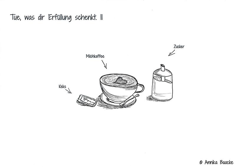 Comic mit Keks, Milchkaffee und Zucker