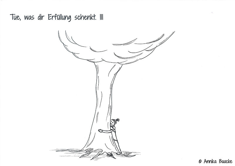Comicfigur, die einen Baum umarmt