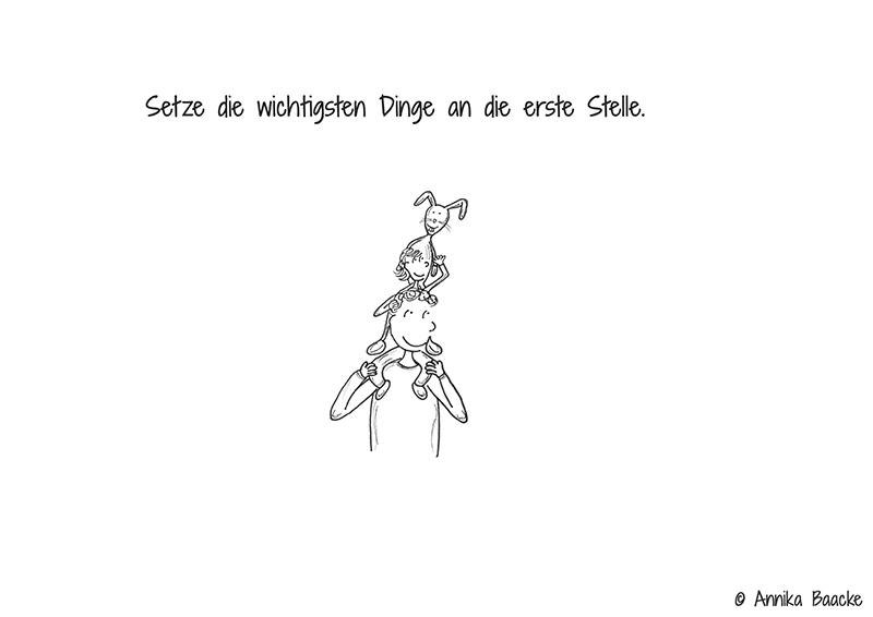 Comic von einem Vaters, der seine kleine Tochter auf den Schultern trägt, die widerum ihren Stofftierhasen auf den Schultern trägt - Copyright: Annika Baacke
