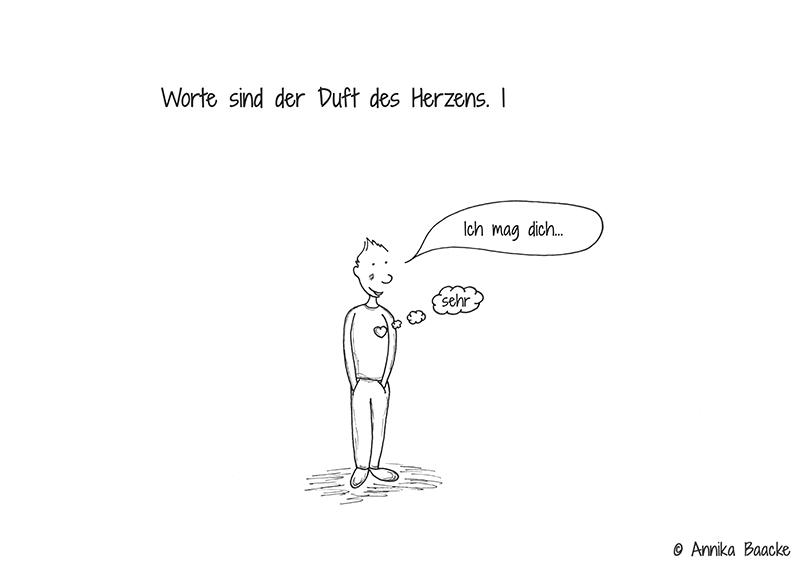 """Comicfigur mit der Sprechblase """"Ich mag dich"""" und das Herz mit der Denkblase """"sehr"""" - Copyright: Annika Baacke"""