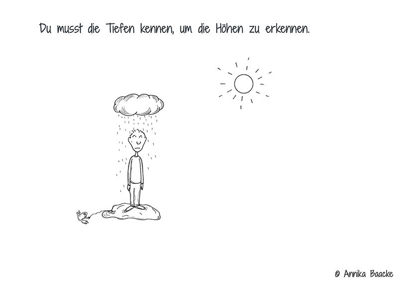 Comicfigur, die in einer Pfütze unter einer Regenwolke steht mit dem Blick zur Sonne - Copyright: Annika Baacke
