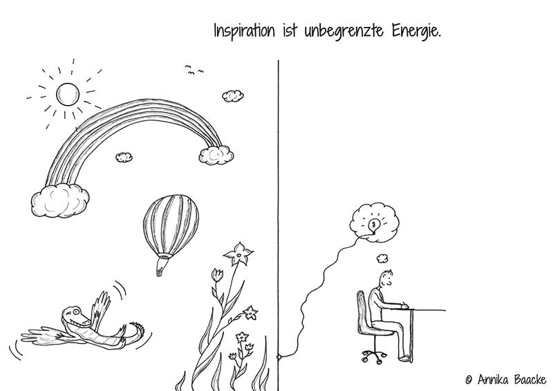 Illustration zum Thema Inspiration. Auf der linken Seite Phantasiewelt, auf der rechten Seite Comicfigur am Schreibtisch, die diese Ideen verwirklicht - Copyright: Annika Baacke