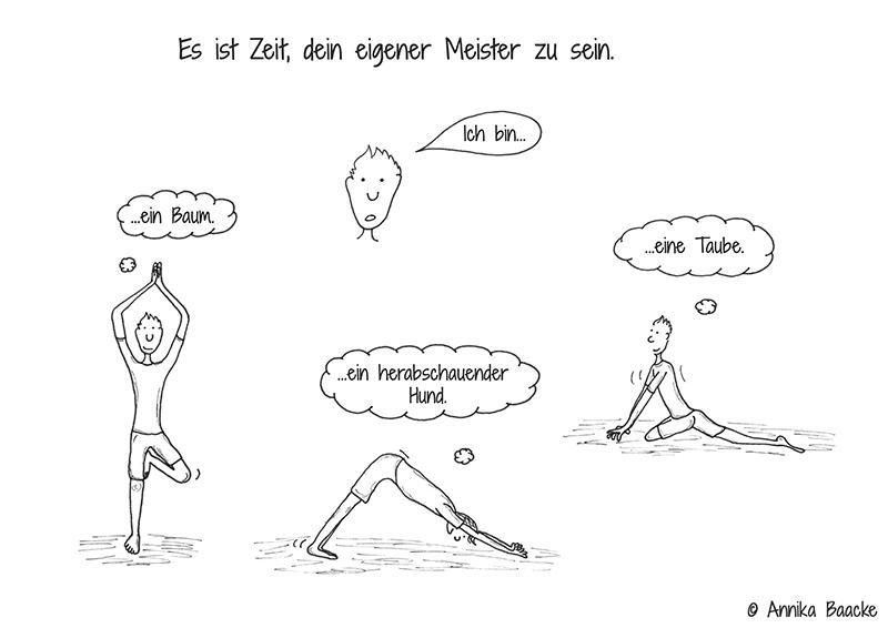 Comicfigur, die sich selbst in verschiedenen Yogapositionen anleitet - Copyright: Annika Baacke