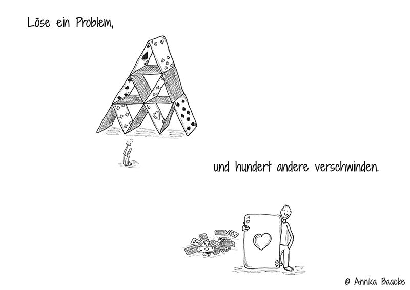 Comicfigur vor einem Kartenhaus und der Karte Herz Ass in der Hand - Copyright: Annika Baacke