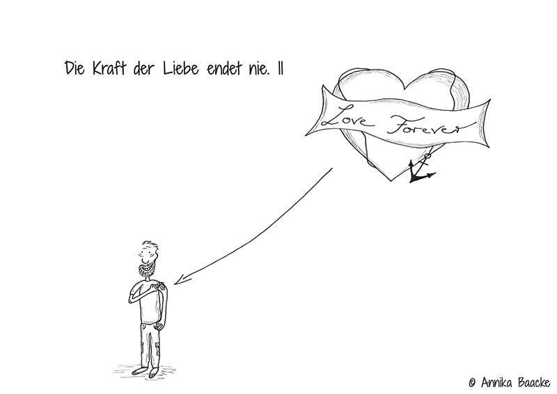 """Illustration eines älteren Mannes mit der Tätowierung """"Love Forever"""" auf dem Oberarm - Copyright: Annika Baacke"""