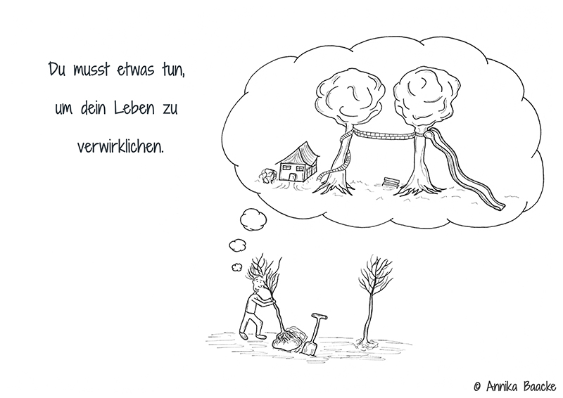 Comicfigur, die zwei kleine Bäume pflanzt und dabei an die groß gewachsenen Bäume in der Zukunft denkt - Copyright: Annika Baacke
