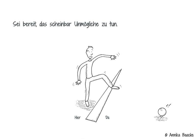 """Comicfigur, die ängstlich und mutig zugleich über einen Strich auf dem Boden steigst, mit dem Verweise """"Hier"""" und """"Da"""" - Copyright: Annika Baacke"""