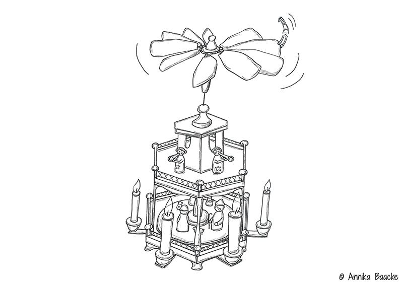 Zeichnung einer Weihnachtspyramide - Copyright: Annika Baacke