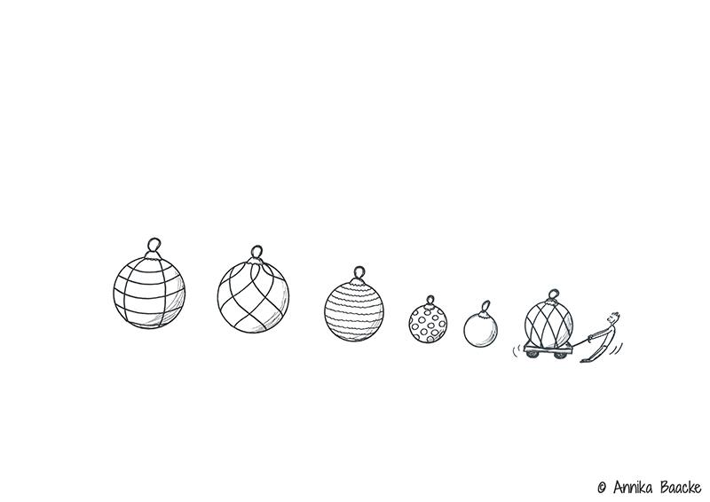 Zeichnung von Weihnachtsbaumkugeln - Copyright: Annika Baacke