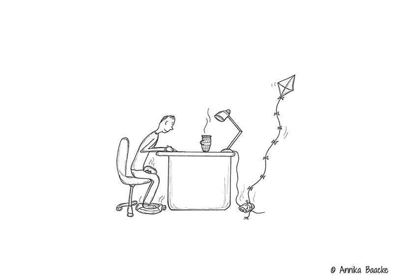 Comicfigur am Schreibtisch ausgestattet mit Wärmflasche - Copyright: Annika Baacke