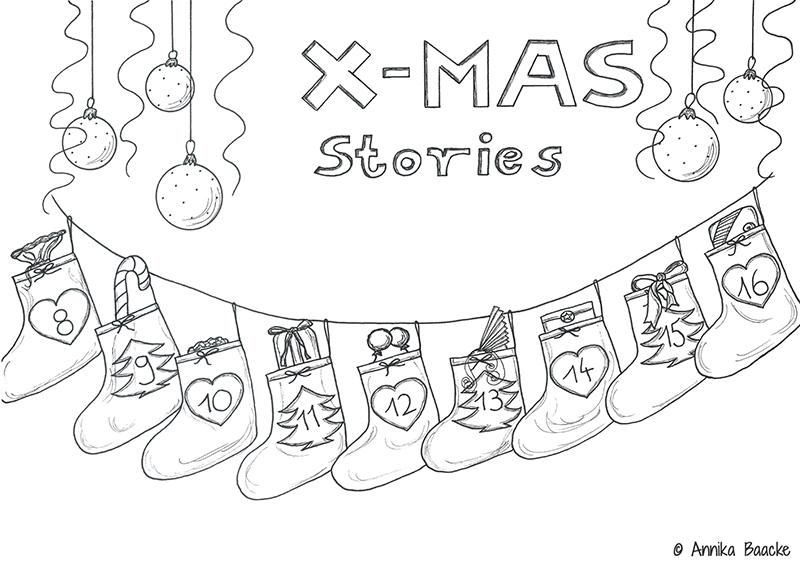 """Gezeichneter Adventskalender mit hängenden Stiefeln und dem Titel """"X-Mas Stories"""" - Copyright: Annika Baacke"""