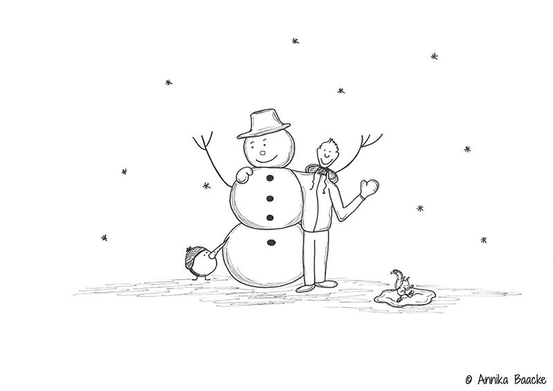 Comicfigur mit Schneemann - Copyright: Annika Baacke