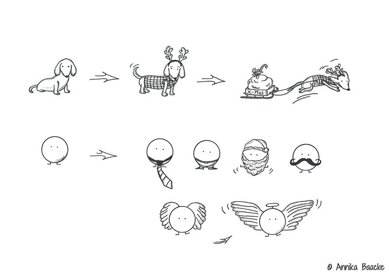 Zeichnung von Hund und Comicfigur im Weihnachtsoutfit- Copyright: Annika Baacke