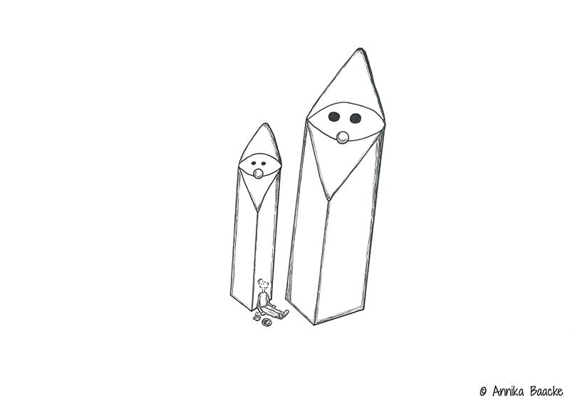 Zeichnung von zwei Deko-Weihnachtswichteln - Copyright: Annika Baacke