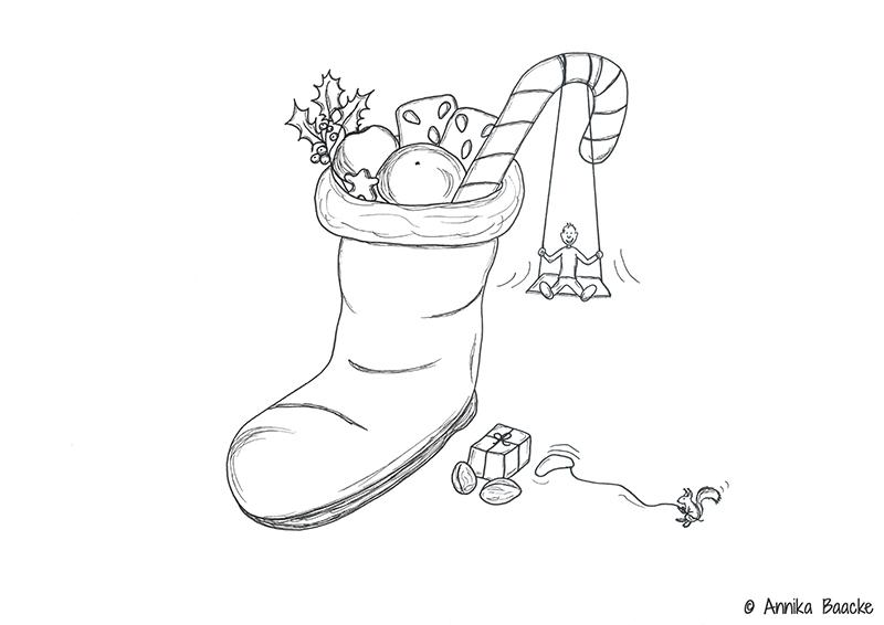 Zeichnung von einem gefüllten Nikolausstiefel - Copyright: Annika Baacke