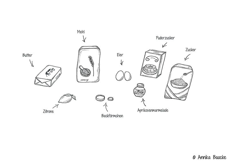 Zeichnung von Zutaten für ein Keksrezept - Copyright: Annika Baacke