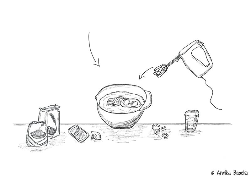 Zeichnung von Zutaten und Rührschüssel für ein Keksrezept - Copyright: Annika Baacke